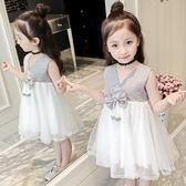 兒童无袖洋裝 童裝連身裙正韓網紗裙拼接女孩公主裙兒童洋氣裙-小精靈生活館
