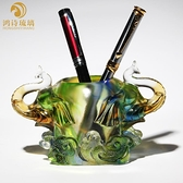 琉璃筆筒創意時尚老板桌面擺件精致實用辦公室裝飾品高檔生日禮物