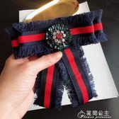 新款學院風紅藍條絲帶紋鑲大珍珠流蘇配飾蝴蝶結別針襯衫大領結女 花間公主