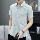 2020夏男士短袖襯衫修身免燙抗皺襯衣韓版商務休閒職業正裝寸衫 蘿莉小腳丫
