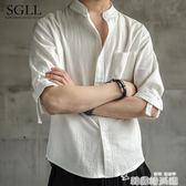 亞麻襯衫男夏季短袖很仙的白襯衣痞帥寬鬆中國風棉麻半袖男士上衣 韓國時尚週