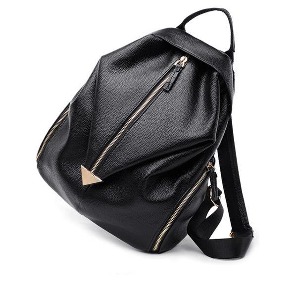 【O-ni O-ni】真皮荔枝紋時尚双肩後背包女士側肩包HLY-BB003-黑色