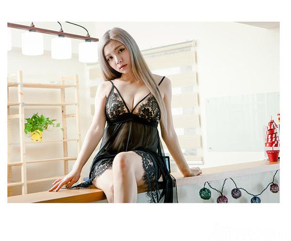 夏日新品睡衣蕾絲薄紗性感睡衣中長性感睡衣~流行E線A7159