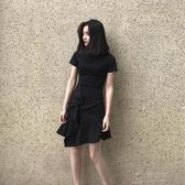 魚尾洋裝女新款超仙chic氣質小香風收腰荷葉邊裙子潮 俏女孩