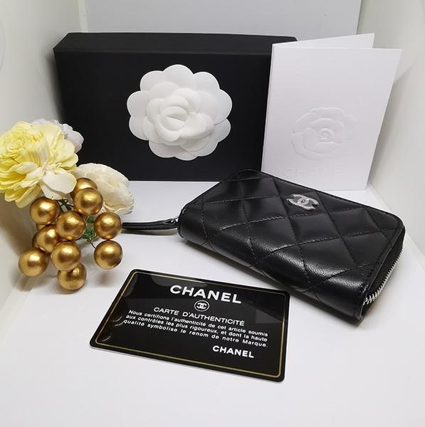 【雪曼國際精品】Chanel香奈兒小羊皮拉鏈卡包 菱格紋零錢包卡包~新品現貨