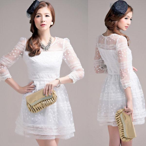甜美宮廷風迷人緹花蕾絲鏤空袖連身小禮服~美之札