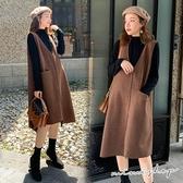 孕婦裝 MIMI別走【P31423】優雅設計感 兩件式 保暖質感坑條背心裙+針織衣 孕婦洋裝