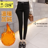 鉛筆褲--保暖個性雙扣拉鍊鬆緊口袋彈力素色顯瘦黃金絨休閒褲(黑L-5L)-P144眼圈熊中大尺碼◎