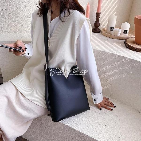 包包女包新款2010韓版百搭簡約單肩子母水桶包大容量時尚手提大包 快速出貨