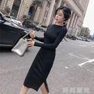 初秋季新款韓版時尚長袖開叉打底修身顯瘦針織黑色連身裙女春 时尚潮流
