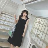 大碼女裝前后兩穿背帶連身裙新夏款胖mm氣質顯瘦過膝吊帶裙 東京衣櫃