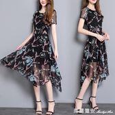夏季新款中長裙短袖雪紡洋裝夏 女裝修身氣質大擺碎花裙子 瑪麗蓮安