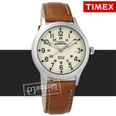 TIMEX 天美時 / TXTW4B11000 / 美國指標專利照明復古簡約日期真皮手錶 米白x卡其 36mm