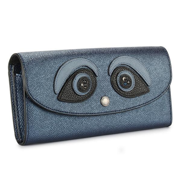 COACH熊貓立體眼飾 荔枝紋皮革拉鍊長夾(藍色)198228-1