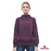 BRAPPERS 女款 肩開叉半高領長袖線衫-深紫
