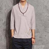 中國風男裝2018春季新款七分袖襯衫男潮棉麻寬鬆大碼套頭短袖襯衣『潮流世家』