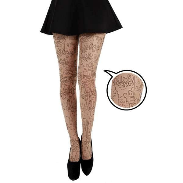 【摩達客】英國進口義大利製Pamela Mann摩天都市刺青效果圖紋彈性褲襪(YPM60117005)