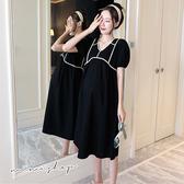 孕婦裝 MIMI別走【P521167】復古優雅感 黑色織帶拼接連身裙 孕婦洋裝