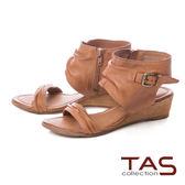 TAS 率性抓皺楔型涼鞋-質感卡其