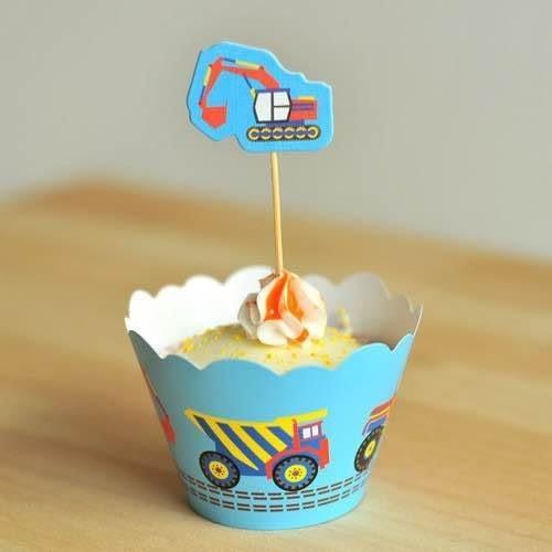 【發現。好貨】烘焙包裝紙杯蛋糕 蛋糕裝飾 插牌圍邊+插牌裝飾 派對用品 【工程車】