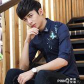 上衣服裝薄夏季襯衫男士青年短袖七分韓版修身中袖五分大碼潮流衫  【PINKQ】