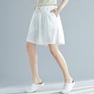 棉麻五分褲女夏胖MM200斤加肥加大碼寬鬆顯瘦鬆緊腰亞麻闊腿短褲 交換禮物