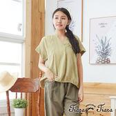 【Tiara Tiara】百貨同步aw 微透光刺繡緹花收口短袖上衣(綠)
