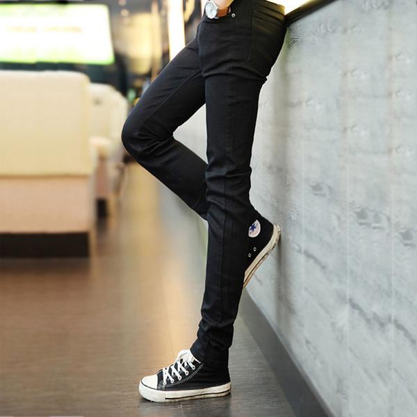 [現貨] 仿牛仔褲布褲潮流長褲子修身窄褲鉛筆褲顯瘦小腳褲韓版超合身全黑長褲工作褲【QZZZ1036】
