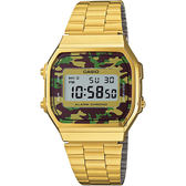 CASIO 卡西歐 Digital 迷彩電子錶-金 A-168WEGC-3DF / A-168WEGC-3D