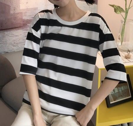 EASON SHOP(GU5752)條紋後開衩七分袖圓領短袖T恤內搭衫落肩女上衣服白棉T春夏裝韓版寬鬆