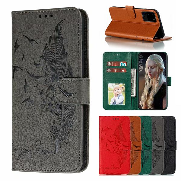 三星 S20 S20+ S20 Ultra Note10 Lite M11 荔枝紋羽毛皮套 手機皮套 插卡 支架 掀蓋殼
