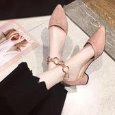 單鞋女百搭網紅仙女風女款一字跟女鞋尖頭中跟粗跟高跟鞋 安妮塔小舖