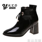 短靴女春秋單靴2020新款網紅流蘇尖頭繫帶v字鞋粗跟馬丁靴高跟靴  自由角落