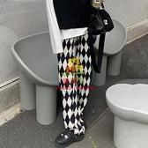 寬管褲 闊腿褲女春秋款大碼垂感高腰小個子寬鬆直筒休閒黑白格子褲ins潮【樂淘淘】