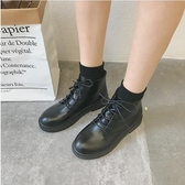 店長推薦 2018秋季新款黑色機車馬丁靴女英倫風系帶漆皮粗跟短靴高筒女靴子