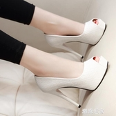 12CM細跟超高跟鞋魚嘴鞋防水台性感淺口單鞋女小碼2020春夏季新款『潮流世家』
