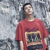 夏季新款港風學生短袖T恤潮流寬鬆趣味印花半袖韓版上衣男生百搭