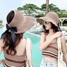 遮陽帽 帽子女2021新款春夏季日系漁夫帽戶外防曬遮陽空頂帽子折疊草帽女寶貝計畫 上新