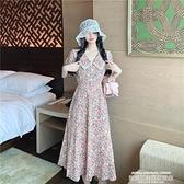 蕾絲洋裝 大碼女裝胖妹妹夏季蕾絲花邊法式復古洋氣顯瘦減齡短袖碎花連身裙 萊俐亞