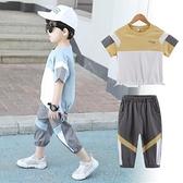 男童套裝新款兒童夏季洋氣中大童帥氣純棉短袖T恤運動兩件套 快速出貨