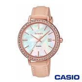 CASIO卡西歐 典雅秀氣珍珠母錶面皮革女錶-粉x36mm  SHE-4052PGL-7B