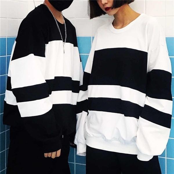 FINDSENSE Z1 日系 時尚 潮 男女情侶款 時尚 插肩袖 寬鬆 黑白撞
