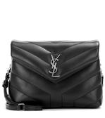 YSL SAINT LAURENT Toy Loulou 銀釦金屬Y字小牛皮V縫線設計 肩背/斜背二用包 黑色
