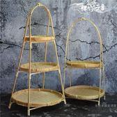 茶幾多層水果盤家用中式竹編零食糖干果盤客廳茶點心籃創意糕點架【快速出貨】