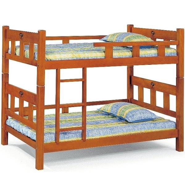 雙層床 AT-594-2 3.5尺柚木色方柱雙層床 (不含床墊) 【大眾家居舘】