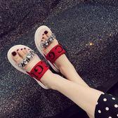 拖鞋女夏時尚外穿2018新款韓版百搭厚底鬆糕一字拖休閒羅馬涼拖潮『新佰數位屋』