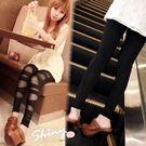 【6511】shiny藍格子-熱情仲夏.交叉摟空網紗鬆緊造型內搭褲