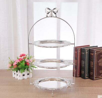 歐式金屬兩層三層蛋糕架點心盤水果盤糕點架婚慶用品擺設