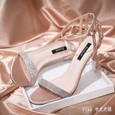 網紅ins高跟涼鞋潮2020新款百搭一字縷空少女高跟鞋時尚露趾細貓跟鞋 DR35006【Pink 中大尺碼】