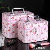 大容量化妝包便攜手提化妝箱大號化妝品收納盒旅行小方包收納包女 金曼麗莎